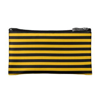 Thin Stripes - Black and Amber Makeup Bag