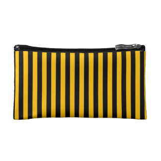 Thin Stripes - Black and Amber Makeup Bags