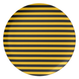Thin Stripes - Black and Amber Party Plates