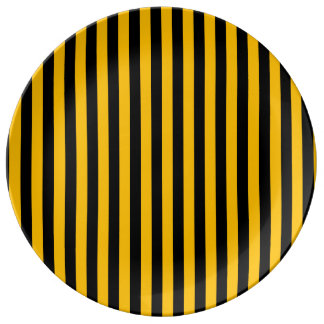 Thin Stripes - Black and Amber Porcelain Plates