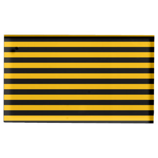 Thin Stripes - Black and Amber Table Card Holder