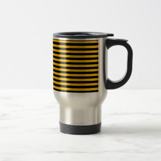 Thin Stripes - Black and Amber Travel Mug