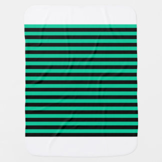 Thin Stripes - Black and Caribbean Green Baby Blanket