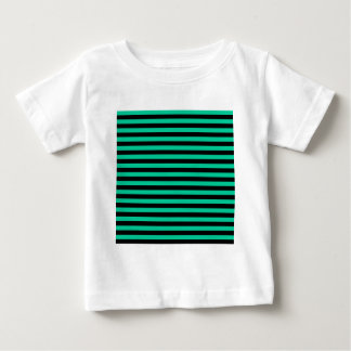 Thin Stripes - Black and Caribbean Green Baby T-Shirt