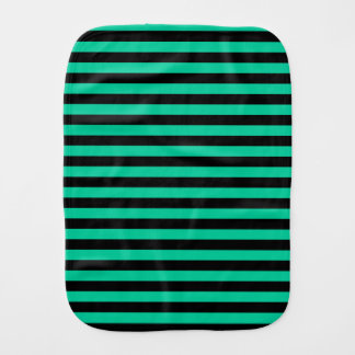Thin Stripes - Black and Caribbean Green Burp Cloth