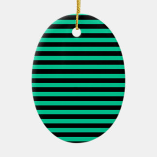 Thin Stripes - Black and Caribbean Green Ceramic Ornament