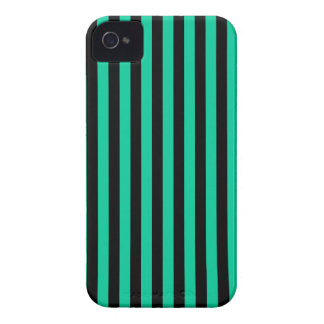Thin Stripes - Black and Caribbean Green iPhone 4 Case-Mate Cases