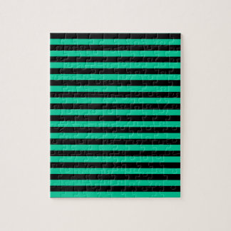 Thin Stripes - Black and Caribbean Green Jigsaw Puzzle