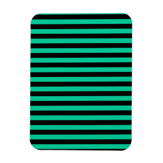 Thin Stripes - Black and Caribbean Green Magnet