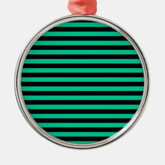 Thin Stripes - Black and Caribbean Green Metal Ornament