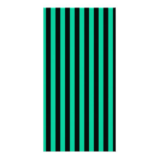 Thin Stripes - Black and Caribbean Green Picture Card