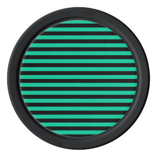 Thin Stripes - Black and Caribbean Green Poker Chips