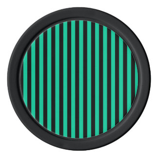 Thin Stripes - Black and Caribbean Green Set Of Poker Chips