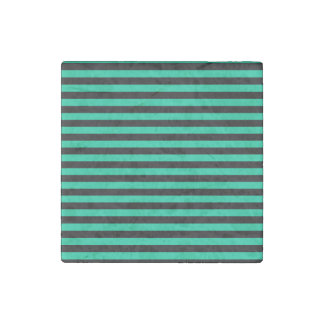 Thin Stripes - Black and Caribbean Green Stone Magnet
