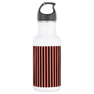 Thin Stripes - Black and Coral Pink 532 Ml Water Bottle