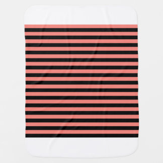 Thin Stripes - Black and Coral Pink Baby Blanket