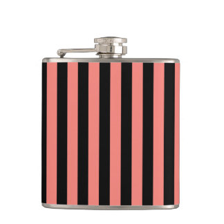 Thin Stripes - Black and Coral Pink Hip Flask