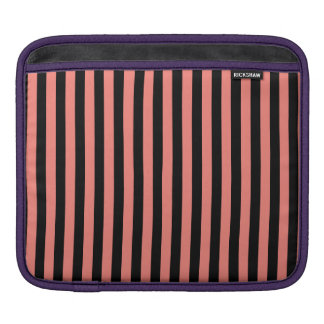 Thin Stripes - Black and Coral Pink iPad Sleeve