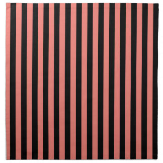 Thin Stripes - Black and Coral Pink Napkin