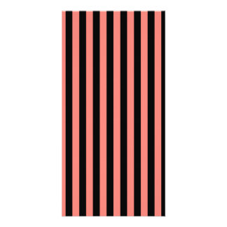 Thin Stripes - Black and Coral Pink Photo Greeting Card