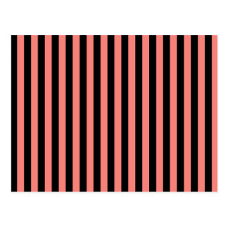 Thin Stripes - Black and Coral Pink Postcard
