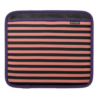 Thin Stripes - Black and Coral Pink Sleeves For iPads