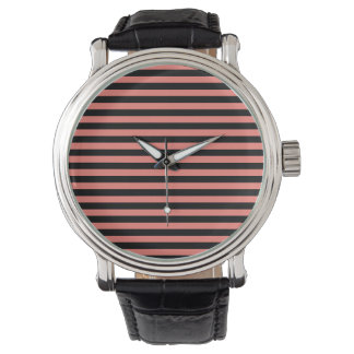 Thin Stripes - Black and Coral Pink Watch