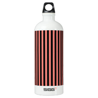 Thin Stripes - Black and Coral Pink Water Bottle