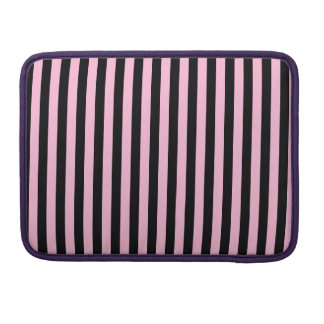 Thin Stripes - Black and Cotton Candy Sleeve For MacBook Pro