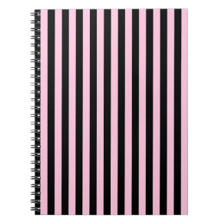 Thin Stripes - Black and Cotton Candy Spiral Notebook