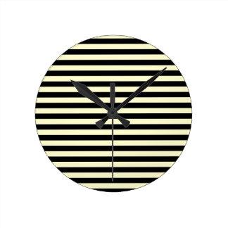 Thin Stripes - Black and Cream Wallclock