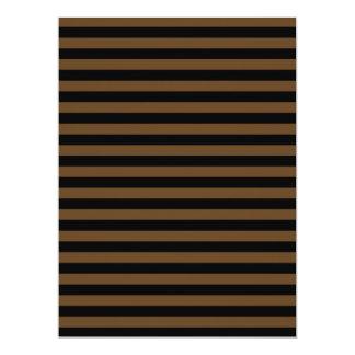 Thin Stripes - Black and Dark Brown 17 Cm X 22 Cm Invitation Card