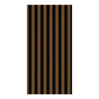 Thin Stripes - Black and Dark Brown Customized Photo Card