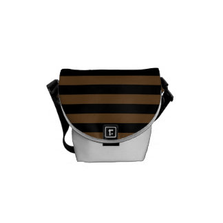 Thin Stripes - Black and Dark Brown Messenger Bag
