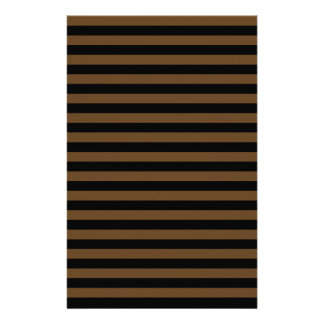 Thin Stripes - Black and Dark Brown Stationery