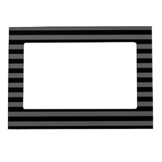 Thin Stripes - Black and Dark Gray Magnetic Picture Frame