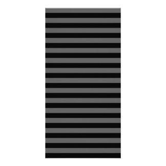 Thin Stripes - Black and Dark Gray Personalised Photo Card