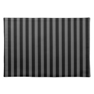 Thin Stripes - Black and Dark Gray Placemats