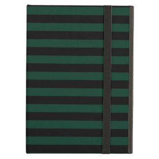 Thin Stripes - Black and Dark Green iPad Air Case