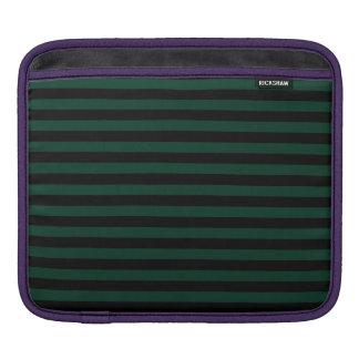 Thin Stripes - Black and Dark Green iPad Sleeve