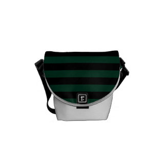 Thin Stripes - Black and Dark Green Messenger Bags