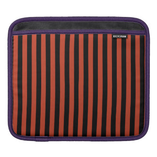 Thin Stripes - Black and Dark Pastel Red iPad Sleeve
