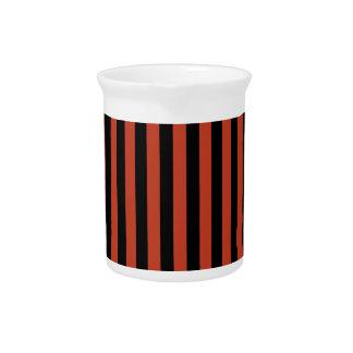 Thin Stripes - Black and Dark Pastel Red Pitcher
