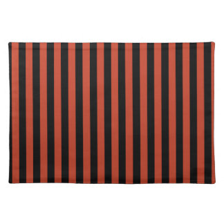 Thin Stripes - Black and Dark Pastel Red Place Mats