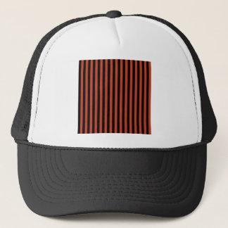 Thin Stripes - Black and Dark Pastel Red Trucker Hat