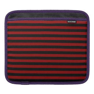 Thin Stripes - Black and Dark Red iPad Sleeve