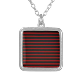 Thin Stripes - Black and Dark Red Silver Plated Necklace