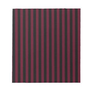 Thin Stripes - Black and Dark Scarlet Notepad