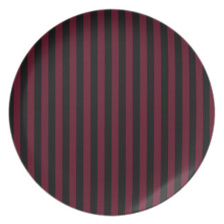 Thin Stripes - Black and Dark Scarlet Plate