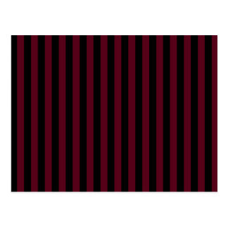 Thin Stripes - Black and Dark Scarlet Postcard